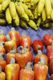 Bananen und frische reife rote Brasilianer Caju-Acajoubaum-Frucht Lizenzfreie Stockfotos