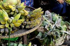 Bananen und junge Kokosnüsse Lizenzfreie Stockbilder