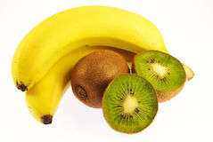 Bananen und Kiwi Lizenzfreies Stockfoto