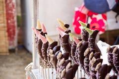 Bananen und Schokolade stockfotografie
