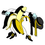 Bananencharaktervektor Zorro und der Karikatur Lizenzfreie Stockfotografie