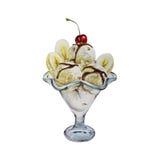 Bananeneisdessert-Aquarellillustration Lizenzfreie Stockfotografie