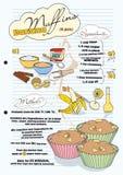 Bananenmuffinrezept mit Abbildungen der Bestandteile Stockbild