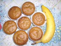 Bananenmuffins Stockfotografie