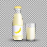 Bananensaft in einer transparenten Glasflasche in einer Glasschale auf transparentem Hintergrund Vektorabbildung von stock abbildung