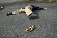 Bananenschalenunfall Stockfoto