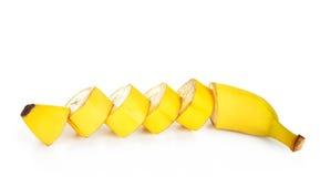 Bananenscheibe getrennt Stockfotografie