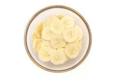 Bananenscheiben auf Spitzenschüssel Lizenzfreie Stockbilder