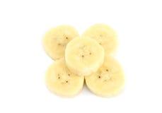 Bananenscheiben lokalisiert auf einem Weiß Lizenzfreie Stockbilder
