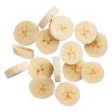 Bananenscheiben lokalisiert auf weißem Hintergrund Stockbilder