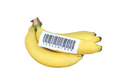 Bananensteuerknüppel mit bacode Stockfotos