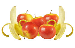 Bananer och äpplen Arkivfoto