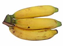bananer samlar ihop isolerad white Royaltyfria Foton