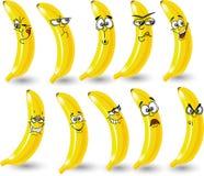 Bananes de dessin animé avec des émotions, vecteur Photographie stock