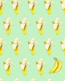 Bananes sur un fond vert Configuration sans joint Illustration d'aquarelle Fruit tropical Travail manuel Photo stock
