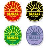 bananetikettstämpel royaltyfri illustrationer