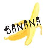 Bananfruktetikett och klistermärke Royaltyfria Bilder