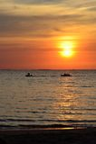 Bananowa łódź przy wschodem słońca Obrazy Royalty Free