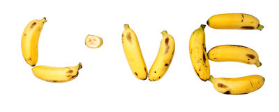 Bananowa miłość Zdjęcia Royalty Free