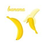 Bananowe owoc plakatowe w kreskówka stylu przedstawiać cały i przyrodni świeży soczysty na białym tle wliczając Obrazy Stock