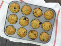 Bananowej czarnej jagody mini muffins Obraz Royalty Free