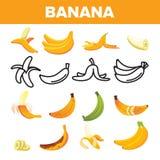 Bananowej Friut ikony Ustalony wektor Żółty Karmowy symbol Sylwetki wiązka Tropikalna natury dieta Słodki Jarski Naturalny znak ilustracji