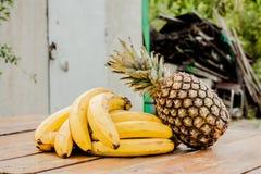 Bananowy ananasa set Obrazy Stock