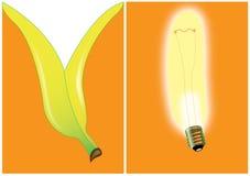 bananowy żarówki karty zaproszenie Fotografia Royalty Free