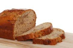 bananowy chleb odizolowywający pokrajać Zdjęcia Royalty Free