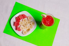 BANANOWY SMUZ I melonie Fotografia Stock