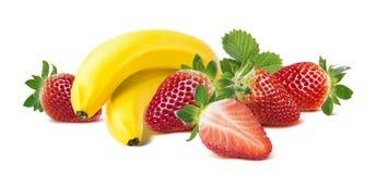 Bananowy truskawkowy horyzontalny skład na białym backg Obraz Stock
