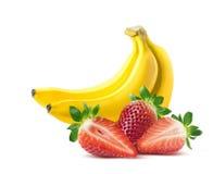 Bananowy truskawkowy skład na białym tle Zdjęcia Royalty Free