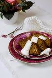 Banantårta med Cashews Royaltyfri Fotografi