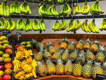 Banany i ananasy na pokazu sklepie spożywczym Fotografia Royalty Free