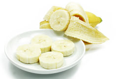 Banany odizolowywający na białym tle Obrazy Royalty Free