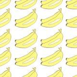 Banany rysujący w Japońskiego kreskówka stylu bezszwowym wektorowym tle Zdjęcia Stock