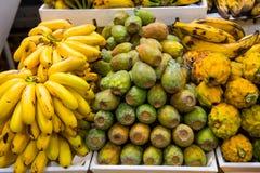 Banany, smok owoc, kaktusowa owoc dla sprzedaży w Ameryka Południowa, Obraz Stock