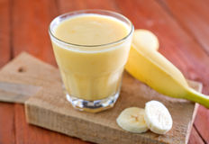 Bananyoghurt Arkivfoton