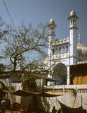 BANARAS: Gyan Vapi Mosque. Jana Vapi Mosque The great Aurangzeb mosque, built on the ruins of the 16th century Vishvesvara Temple. One of the walls of the old stock photo