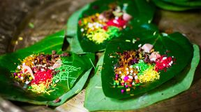 banarasi pan, betel nut garnished with all indian banarasi ingredients for sale stock image