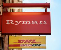 Ryman and DHL Hanging Sign stock photography