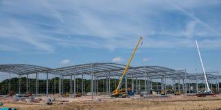 Industrial unit under construction. Banbury, United Kingdom - August 07 2018: An Industrial unit under construction by the M4 near Banbury stock photo