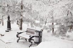 banc couvert de neige en parc de ville photographie stock