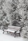 banc couvert de neige en parc de ville Images stock