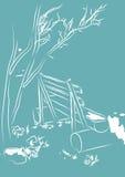 Banc d'illustration sous un arbre Image libre de droits