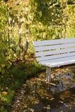 Banc dans le jardin d'automne. Photo stock