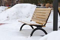 Banc de jardin en hiver Photographie stock