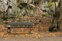 Banc de parc en vallée de rivière présagée Photographie stock libre de droits