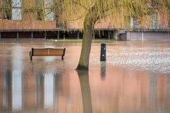 Banc de parc et borne dans les eaux d'inondation profondes sous le saule Photos libres de droits
