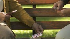 Banc de parc femelle de deux de retraités cartes de jeu, passe-temps de retraite, amusement d'amitié banque de vidéos